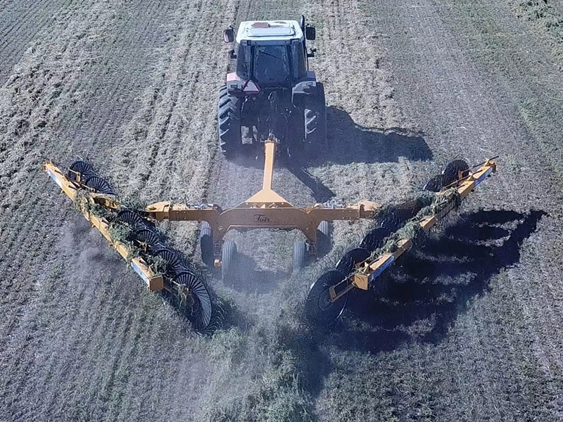 "Merge 2 hay windrows into 1 with 60"" wheels on the Fair Manufacturing Hay Rake"